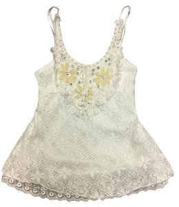 Other Lace Pearls Boho Spaghetti Strip Top White