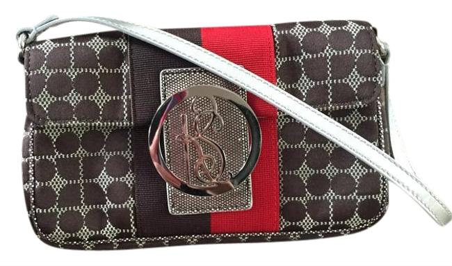 Item - Brown Red and Silver Canvas Shoulder Bag