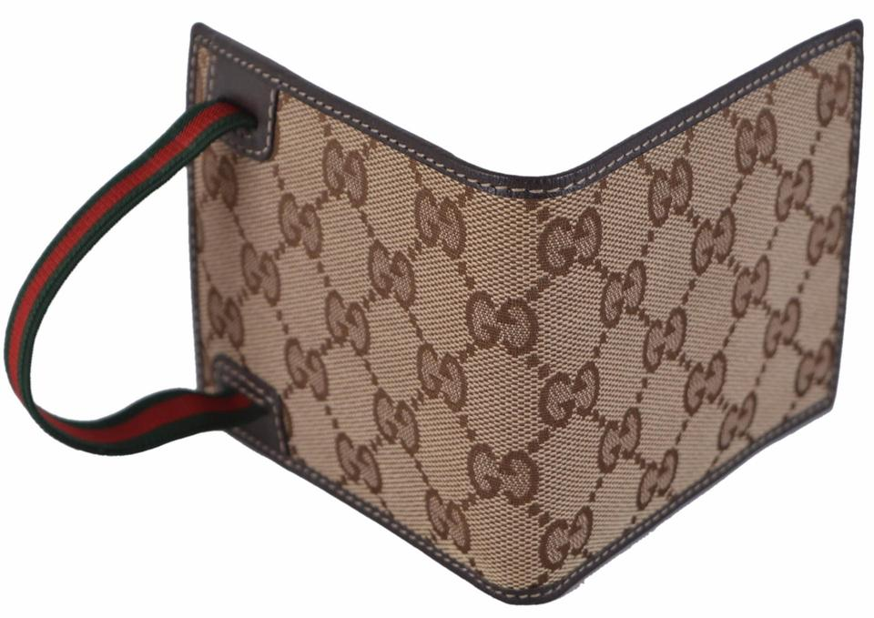 1e99c7c1 Gucci Beige New Men's 152621 Canvas Gg Guccissima Red Green Web Band Wallet