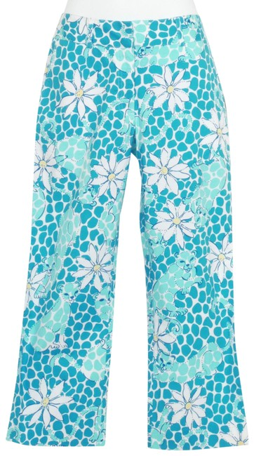 Item - White Blue Stretch Cotton Poplin Liza Leopard Lounge Floral Pants Capris Size 2 (XS, 26)