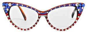 Rhinestone Crystal Accent Cat Eyes Sexy Secretary Retro Chic American Flag Patriotic Sun Glasses + FREE Crystal Case and Dust Cloth