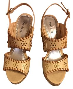 bebe Studded Leather Tan Wedges