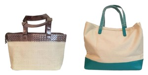 Tote in White/teal