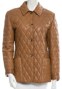 Burberry Brown/ tan/ beige Leather Jacket