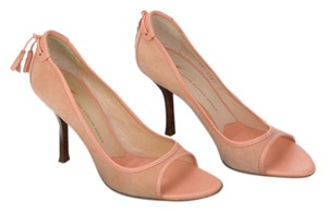 Giuseppe Zanotti Orange Pink Leather Suede Wood Peach Pumps