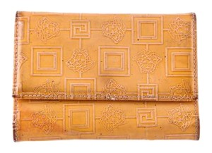 Versace versace medusa yellow patent leather bifold wallet