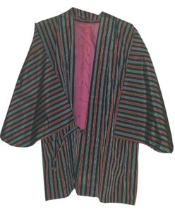 Black and Red stripes Kimono wrap Jacket