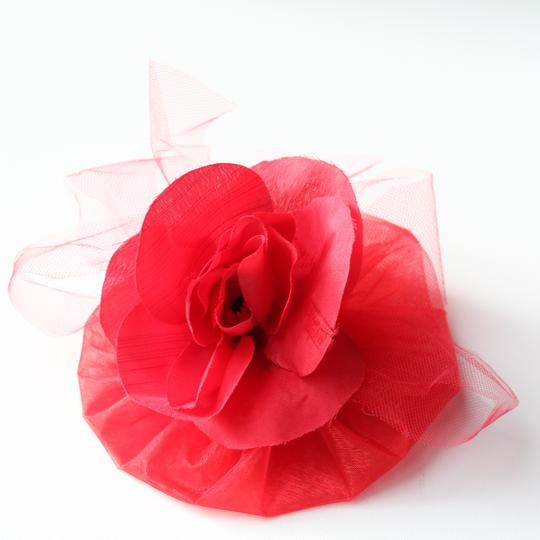 Other Red Rose Fascinator - Red Hair Accessory - Red fancy hair clip