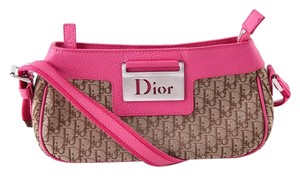 Dior Pink Leather Monogram Shoulder Bag