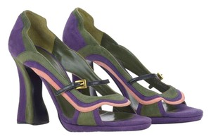 Prada Green Platform Chunky Strappy Purple Pumps