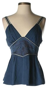 Catherine Malandrino Silk Embroidered Sleeveless Top Navy