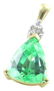 10KT SOLID YELLOW GOLD PENDANT GREEN STONE 3 DIAMONDS .06 CARAT LGL DESIGNER