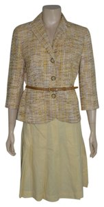 Ann Taylor LOFT LOFT Skirt Suit Cotton Blend in Yellow Color Tweed jacket Size 4/6