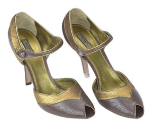 Prada Cutout Peep Toe Ankle Strap Button Brown Pumps