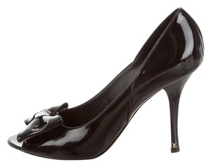 Louis Vuitton Peep Toe Hardware Black, Gold Pumps