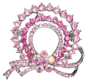 Other New Pink Ribbon Austrian Crystal Brooch High Quality