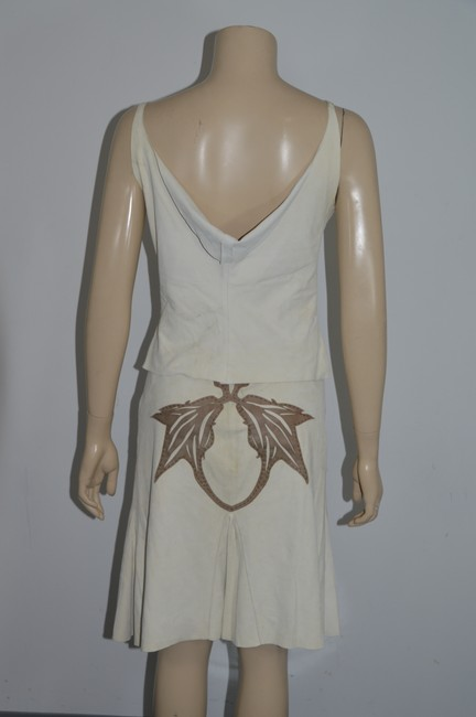 Stephen Yearick STEPHEN Made in Italy Beige/Brown Genuine Suede/Leather 2pc Dress Size 6 On Sale