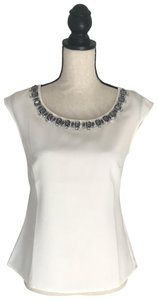Ann Taylor Cute Crystal Neckline Party Top Cream
