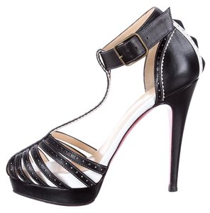 Christian Louboutin Strappy Platform Ankle Strap Black, White Pumps