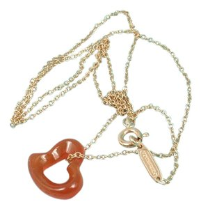 Tiffany & Co. Tiffany & Co Peretti Carved Carnelian Open Heart 18K Gold Chain Necklace 16