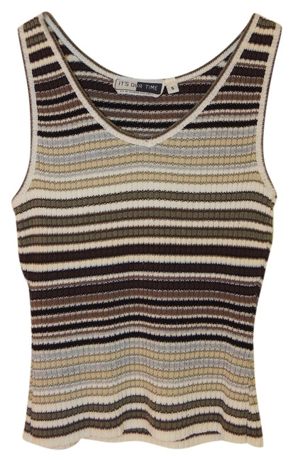 It's Our Time Striped Sweater Top Brown, black, white, cream