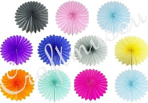 "Buyer Choose The Color 14"" Tissue Paper Fan Pinwheels Flower For Party Baby Shower Reception Decoration"