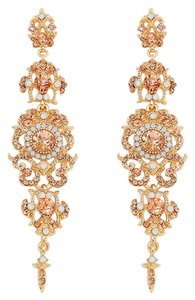 Peach Gold Rhinestone Crystal Opal Dangle Earrings