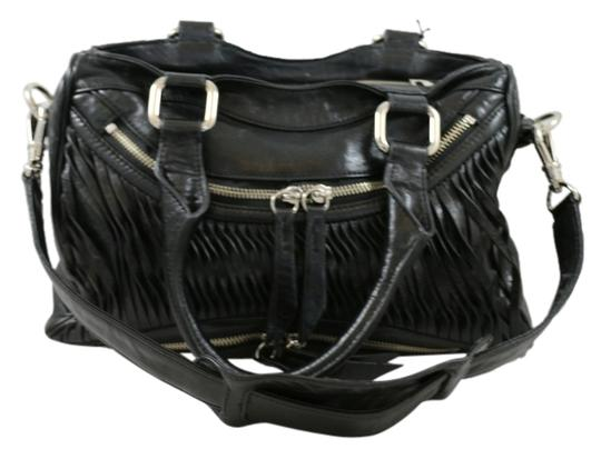 Treesje Leather Convertable Imported Asher Distressed Satchel in Black