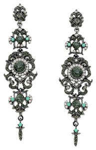 Black Diamond Gunmetal Rhinestone Crystal Opal Dangle Earrings