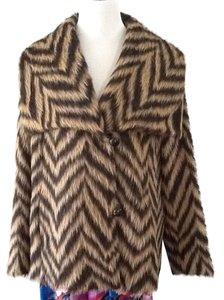 Marina Rinaldi Alpaca Wool Brown Beige Chic Fur Coat
