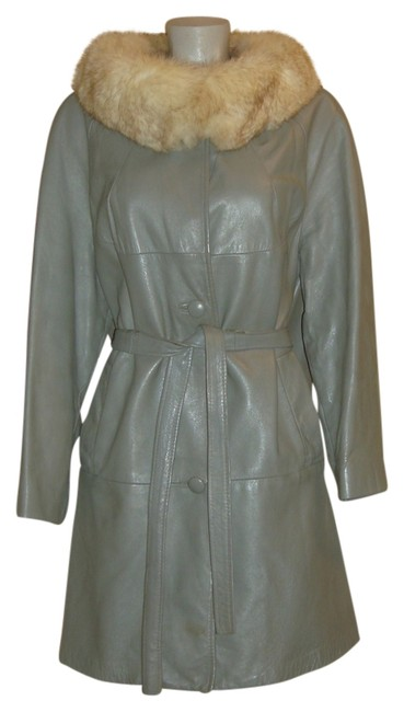 Item - Silver Gray W Leather Belted Swing W/Fox Trim~m~ Coat Size 10 (M)