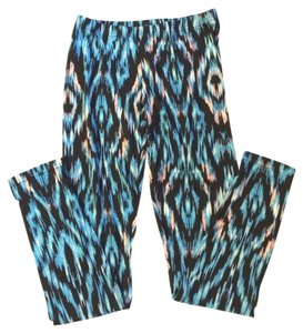 Capelli New York Ladies Women Distressed Ikat Medium black, turquoise Leggings