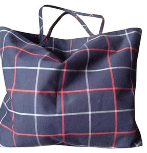Burberry Tote in Plaid: Navy, Red & Grey