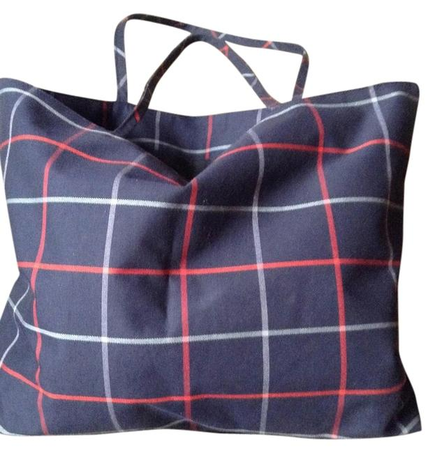 Item - Plaid: Navy Red & Grey Cotton Tote
