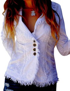 Lirome Boho Cottage Chic Ethnic Country Summer White Womens Jean Jacket
