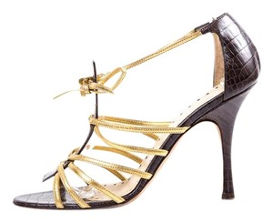 Alexandra Neel Brown and Gold Sandals