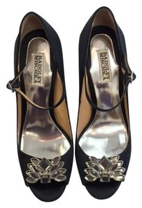 Badgley Mischka Evening Pumps Black Satin Formal