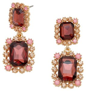 Other Emerald Cut Burgundy Rhinestone Crystal Earrings