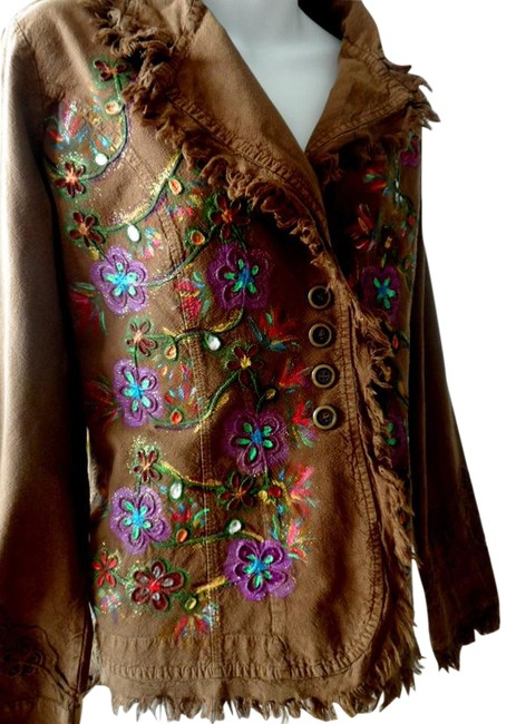 """Lirome Brown Hand Painted Organic Cotton Embroidery """"Tahiti"""" Cottage Chic Jacket Size 22 (Plus 2x) Lirome Brown Hand Painted Organic Cotton Embroidery """"Tahiti"""" Cottage Chic Jacket Size 22 (Plus 2x) Image 3"""