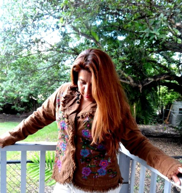"""Lirome Brown Hand Painted Organic Cotton Embroidery """"Tahiti"""" Cottage Chic Jacket Size 22 (Plus 2x) Lirome Brown Hand Painted Organic Cotton Embroidery """"Tahiti"""" Cottage Chic Jacket Size 22 (Plus 2x) Image 5"""