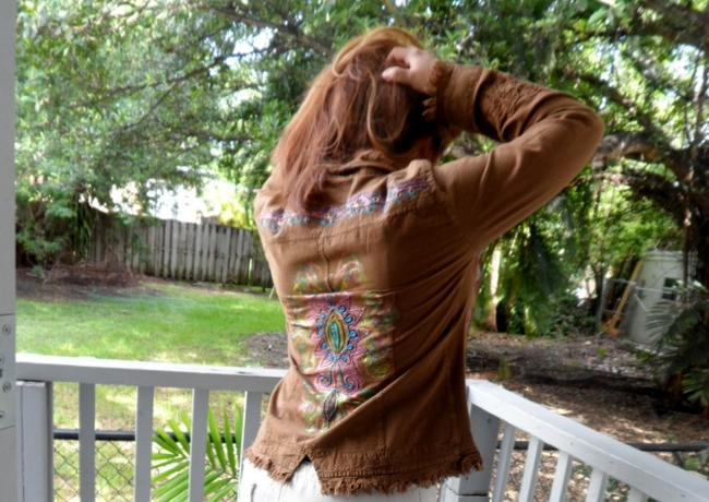 """Lirome Brown Hand Painted Organic Cotton Embroidery """"Tahiti"""" Cottage Chic Jacket Size 22 (Plus 2x) Lirome Brown Hand Painted Organic Cotton Embroidery """"Tahiti"""" Cottage Chic Jacket Size 22 (Plus 2x) Image 6"""