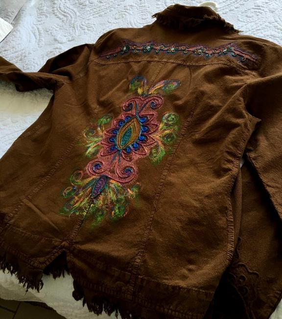 """Lirome Brown Hand Painted Organic Cotton Embroidery """"Tahiti"""" Cottage Chic Jacket Size 22 (Plus 2x) Lirome Brown Hand Painted Organic Cotton Embroidery """"Tahiti"""" Cottage Chic Jacket Size 22 (Plus 2x) Image 7"""