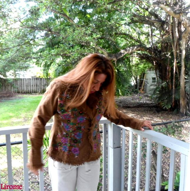 """Lirome Brown Hand Painted Organic Cotton Embroidery """"Tahiti"""" Cottage Chic Jacket Size 22 (Plus 2x) Lirome Brown Hand Painted Organic Cotton Embroidery """"Tahiti"""" Cottage Chic Jacket Size 22 (Plus 2x) Image 9"""