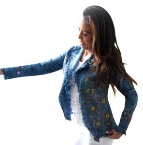 Lirome Boho Cottage Chic Ethnic Country Summer Denim Blue Womens Jean Jacket