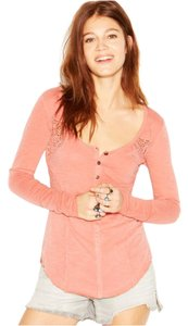 Free People Henley Longsleeve Cotton Crochet Top Terracotta