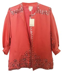 Reem Acra Jeweled Bejeweled Silk Coral Jacket