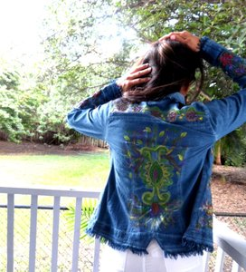Lirome Boho Cottage Chic Ethnic Denim Blue Womens Jean Jacket