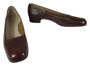 Salvatore Ferragamo Leather Crocodile Flats