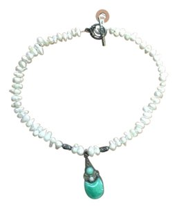 Antique Natural Pearl & Turquoise Necklace Antique Natural Pearl Necklace With Turquoise & Silver Pendant