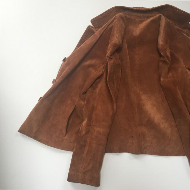 Brandon Thomas Suede Soft Western Contrast Brown Leather Jacket Image 8